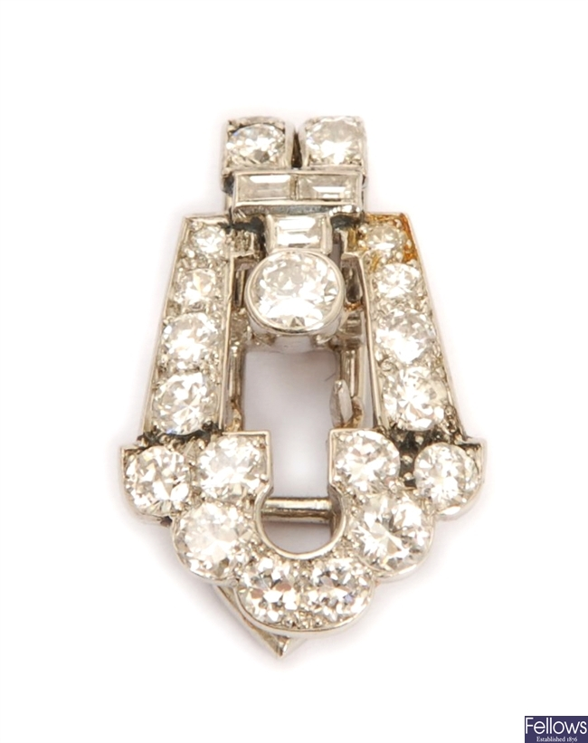 A mid 20th century diamond set clip, in a tapered