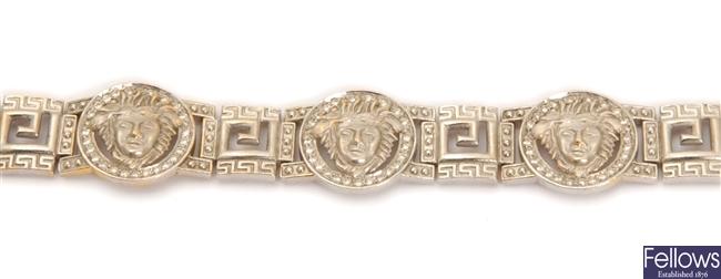 A greek key design bracelet, with five spaced