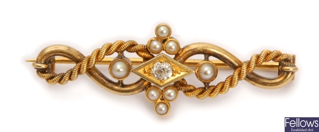 An early 20th century diamond and seed pearl