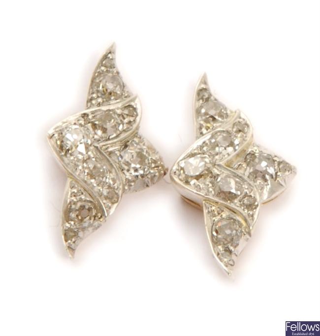 A pair of old European cut diamond earrings, in a