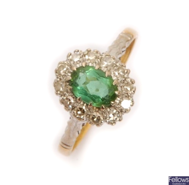 An 18ct gold green tourmaline and diamond cluster