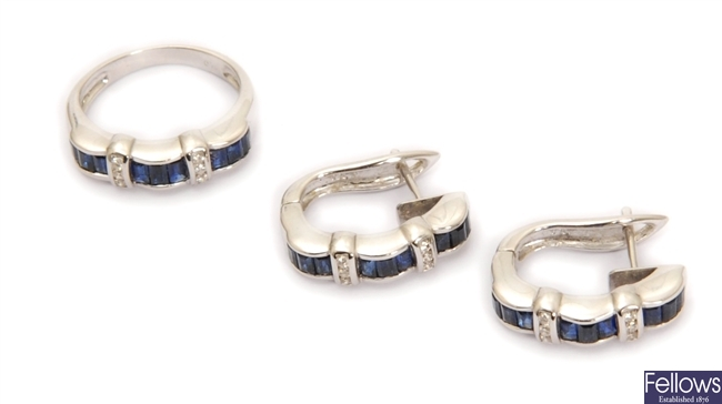 Two items, to include a sapphire and diamond band