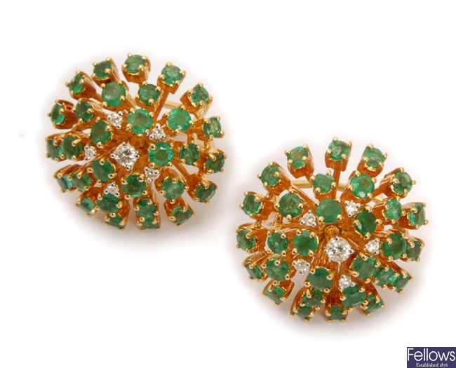 A pair of emerald and diamond circular cluster