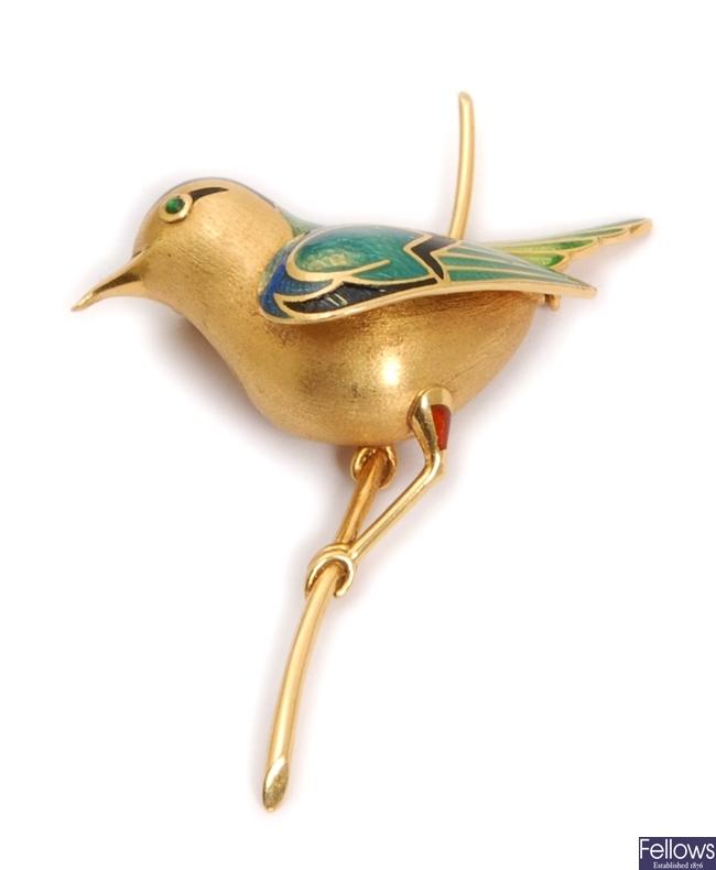 A French enamelled bird design brooch, depicting