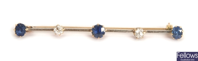 An early/mid 20th century sapphire and diamond