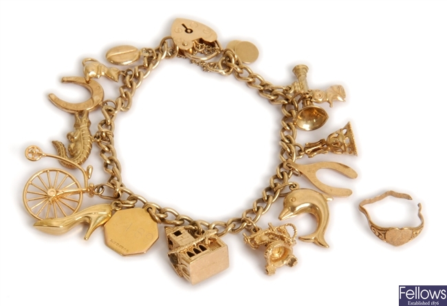 Two items to include a 9ct gold charm bracelet,