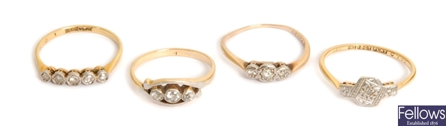 Four diamond set dress rings to include an 18ct