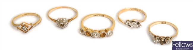 Five diamond set dress rings to include a five