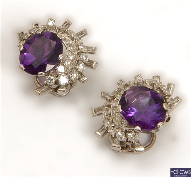 A pair of amethyst and diamond cluster clip on