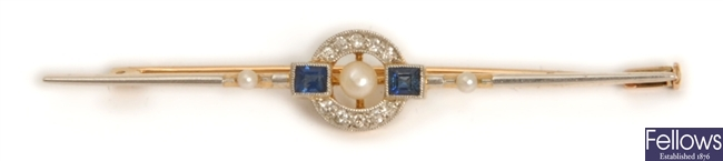An early twentieth century diamond, sapphire and