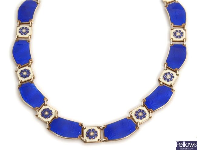 A Scandinavian enamelled collar style necklace,