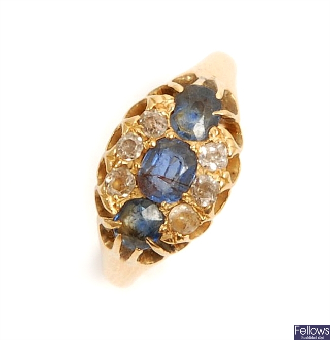An early 20th century 18ct gold sapphire and