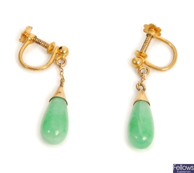 A pair of jade set dropper earrings, with fine