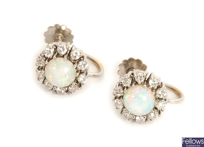 A pair of opal and diamond cluster earrings,