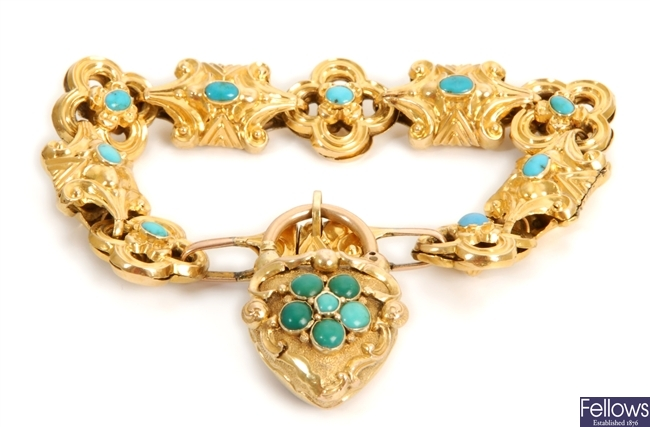 A Victorian turquoise set bracelet, with hollow