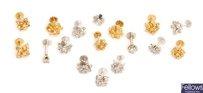 Seventeen diamond set odd stud earrings, to