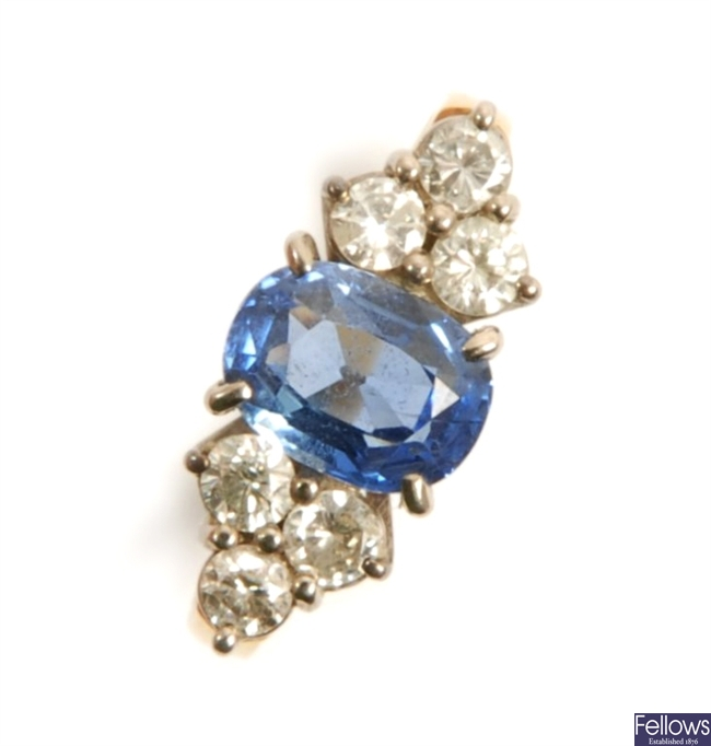 An 18ct sapphire and diamond ring, comprising an