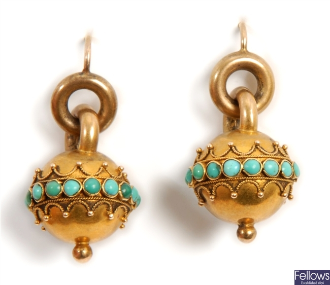 A pair of Victorian earrings, comprising a