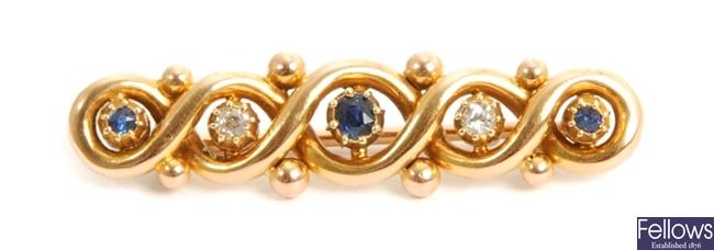 An early twentieth century sapphire and diamond