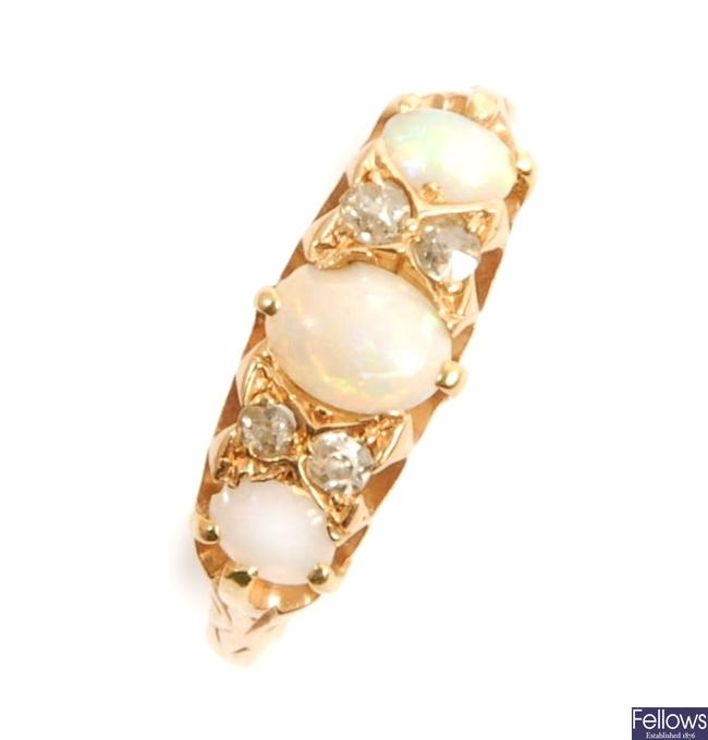 An early/mid twentieth century opal and diamond