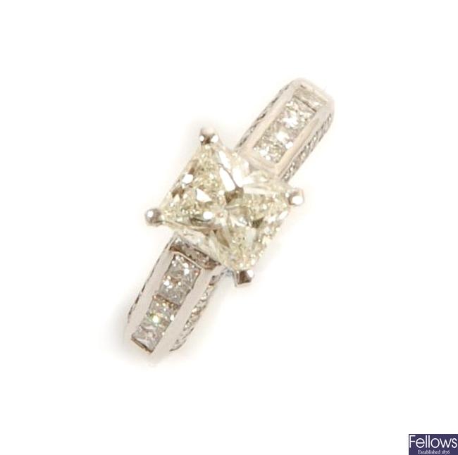 A single stone princess cut diamond ring, the