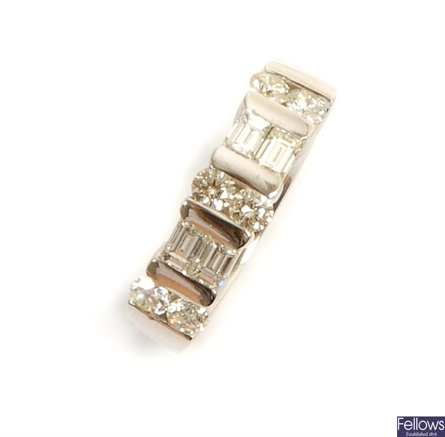 A diamond set band ring, comprising three tension