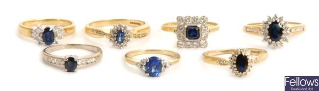 Seven 18ct yellow gold sapphire and diamond