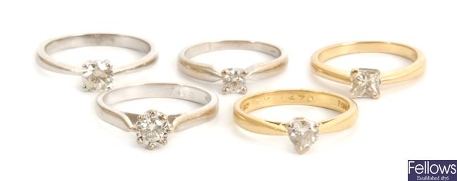 Five 18ct gold diamond set dress rings, to