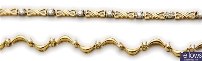 Two bracelets to include an 18ct bracelet