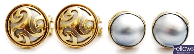 Two pairs of mabe pearl set earrings, comprising