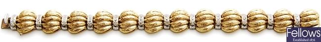 An 18ct bi-colour gold diamond set fancy