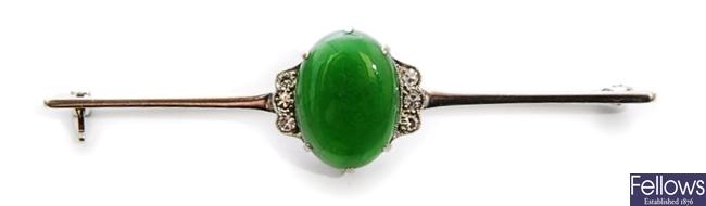 An early/mid 20th century jade and diamond set