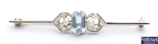 An early 20th century aquamarine, diamond and