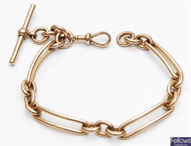 A 9ct gold fetter and three link bracelet, with
