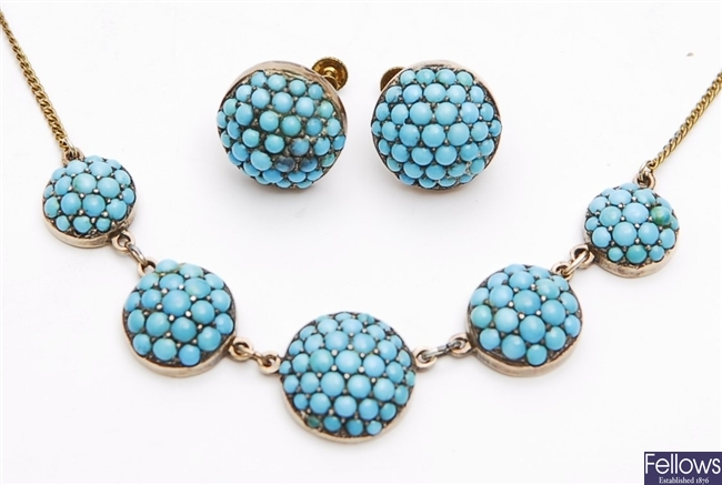 A mid 20th century turquoise set necklace,