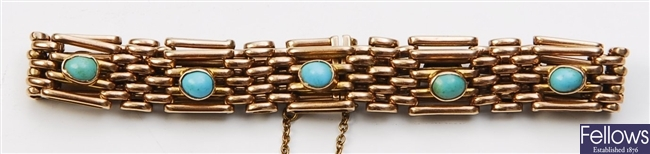 A 9ct gold turquoise set four bar gate bracelet,