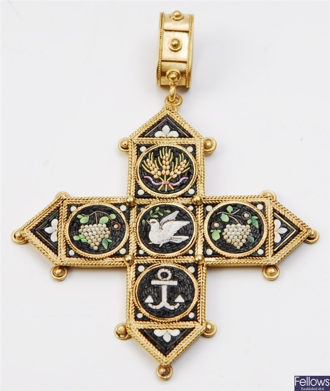 A Victorian micro mosaic cross pendant, with five