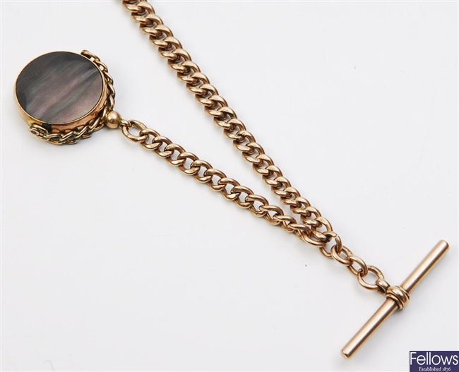 A 9ct rose gold graduated curb link albert chain,