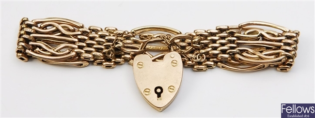 A 9ct gold fancy gate link bracelet