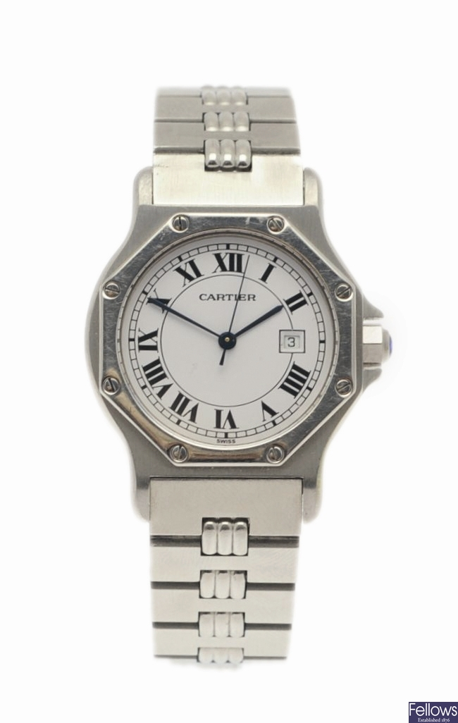 CARTIER - a stainless steel automatic Santos