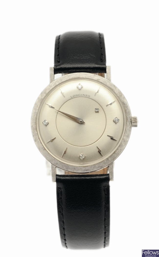 LONGINES - A gentleman's 14ct white gold manual