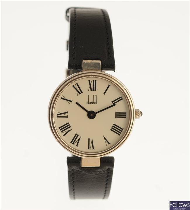 DUNHILL - a silver manual wind gentleman's wrist