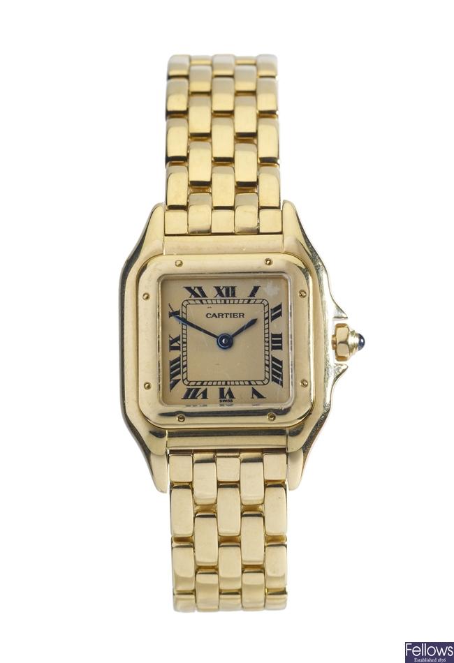 CARTIER - an 18k gold quartz lady's Panthere