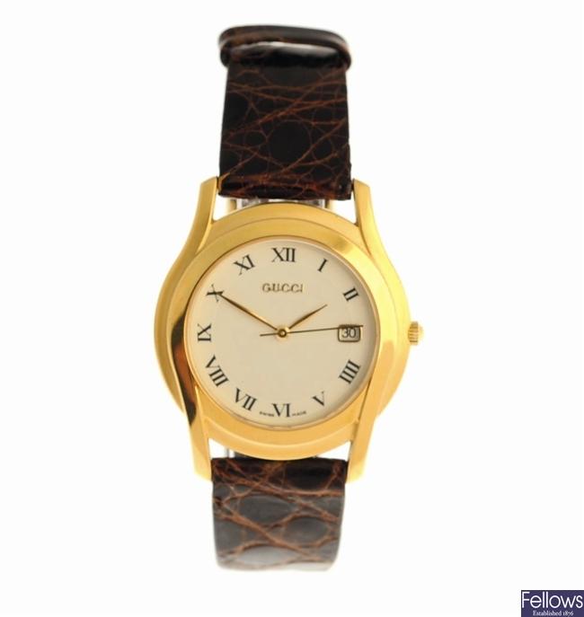 GUCCI - a gold plated quartz gentleman's wrist