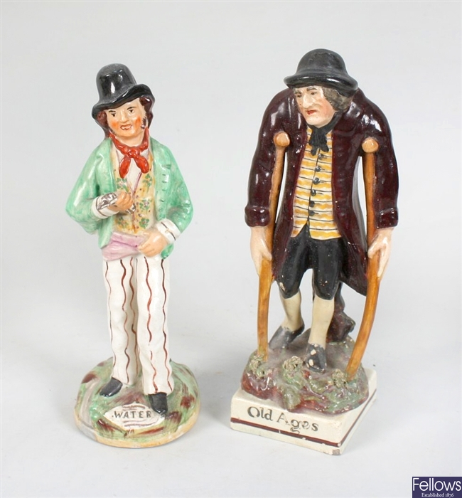 19th century Staffordshire pottery twin sided figure, other Staffordshire pottery