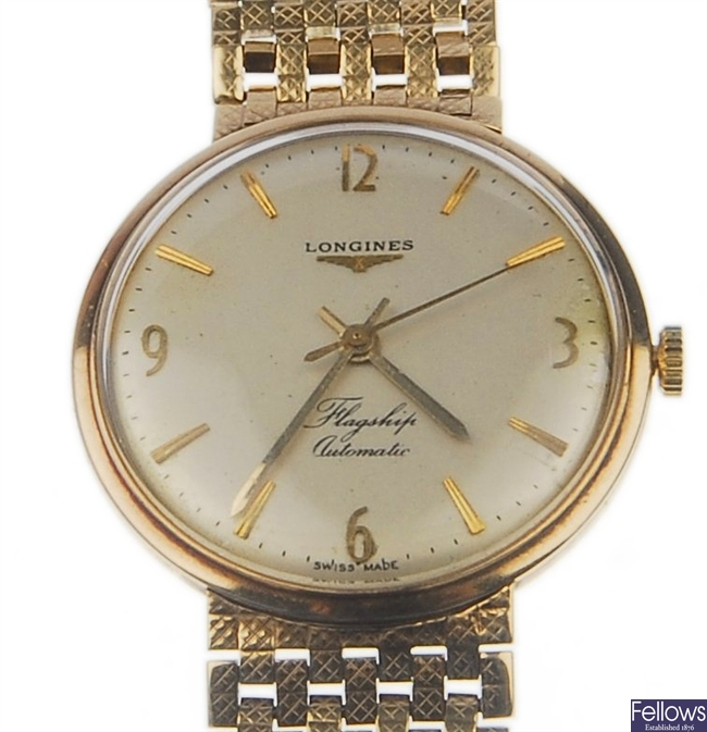 LONGINES - A gentleman's 9ct gold Flagship
