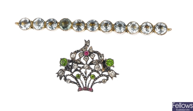 Two brooches, one as a bar brooch featuring