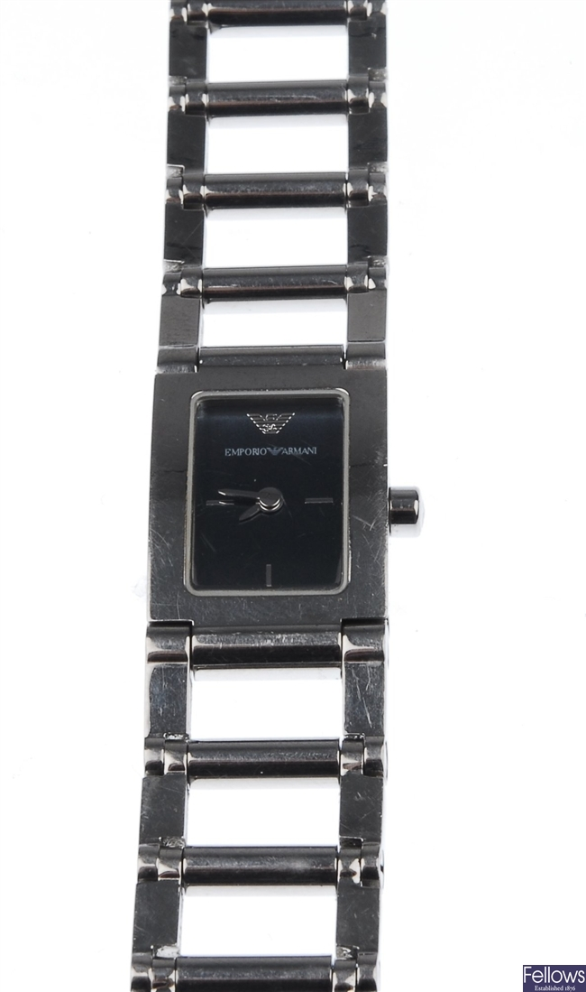 EMPORIO ARMANI - a lady's rectangular watch with