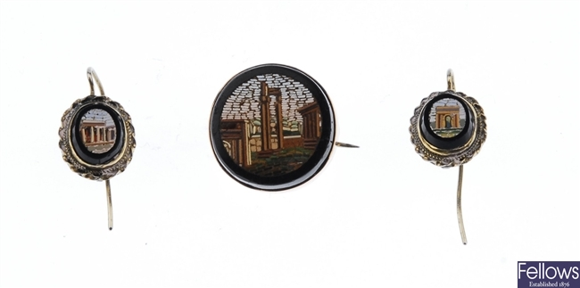 A suite of micro mosaic jewellery comprising of