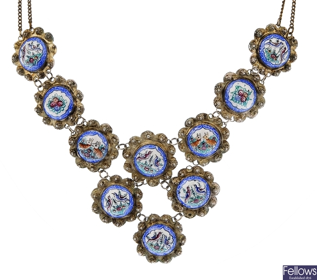 A Continental necklet with enamelled panels